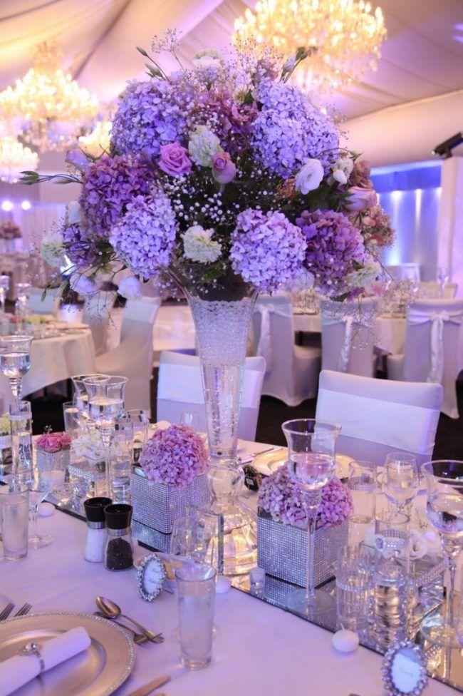 Tischdeko Hortensien Hochzeit Violett Lila Glitzer Kristall Romantisch Tischdekoration Hochzeit Lila Hochzeit Hochzeitsdekoration