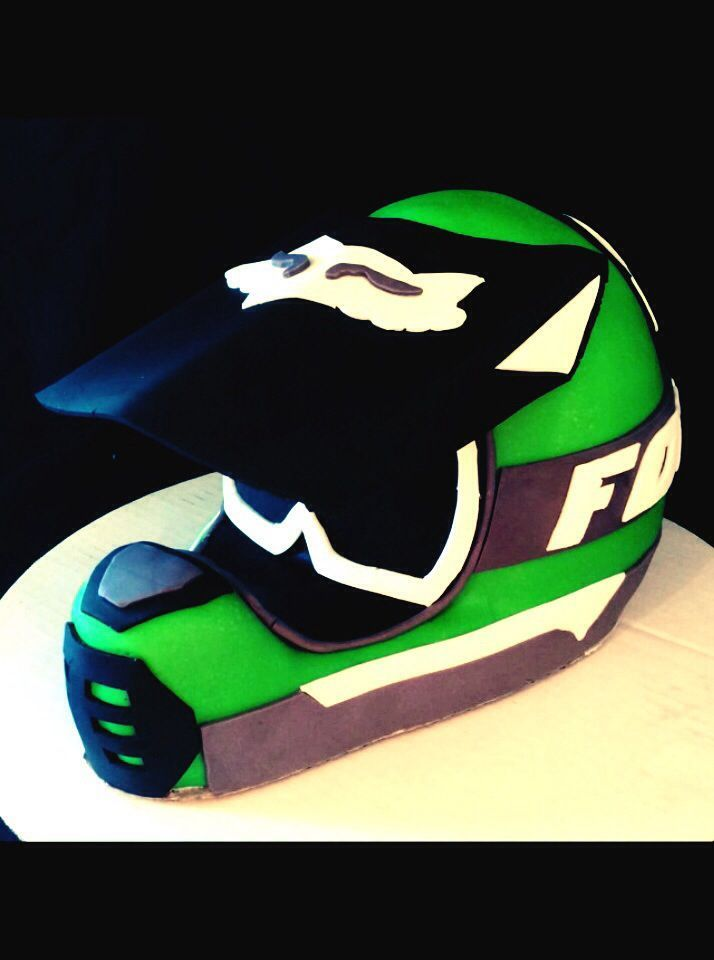 Dirt bike helmet cake Birthday party ideas Pinterest Dirt