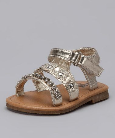 518d243d666a Love this Gold Flower Rhinestone Sandal by Xeyes on  zulily!  zulilyfinds