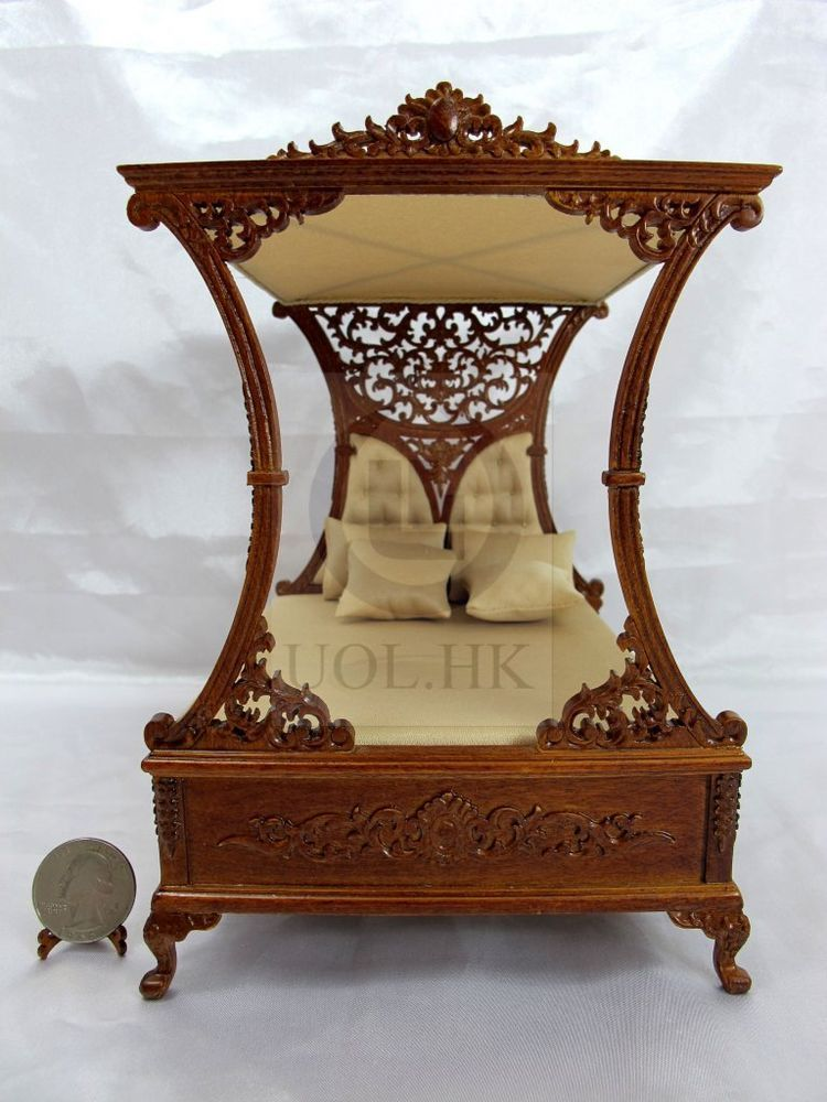 1:12 Scale Miniature Luxurious Canopy Bed For Doll House [Finished In  Walnut]
