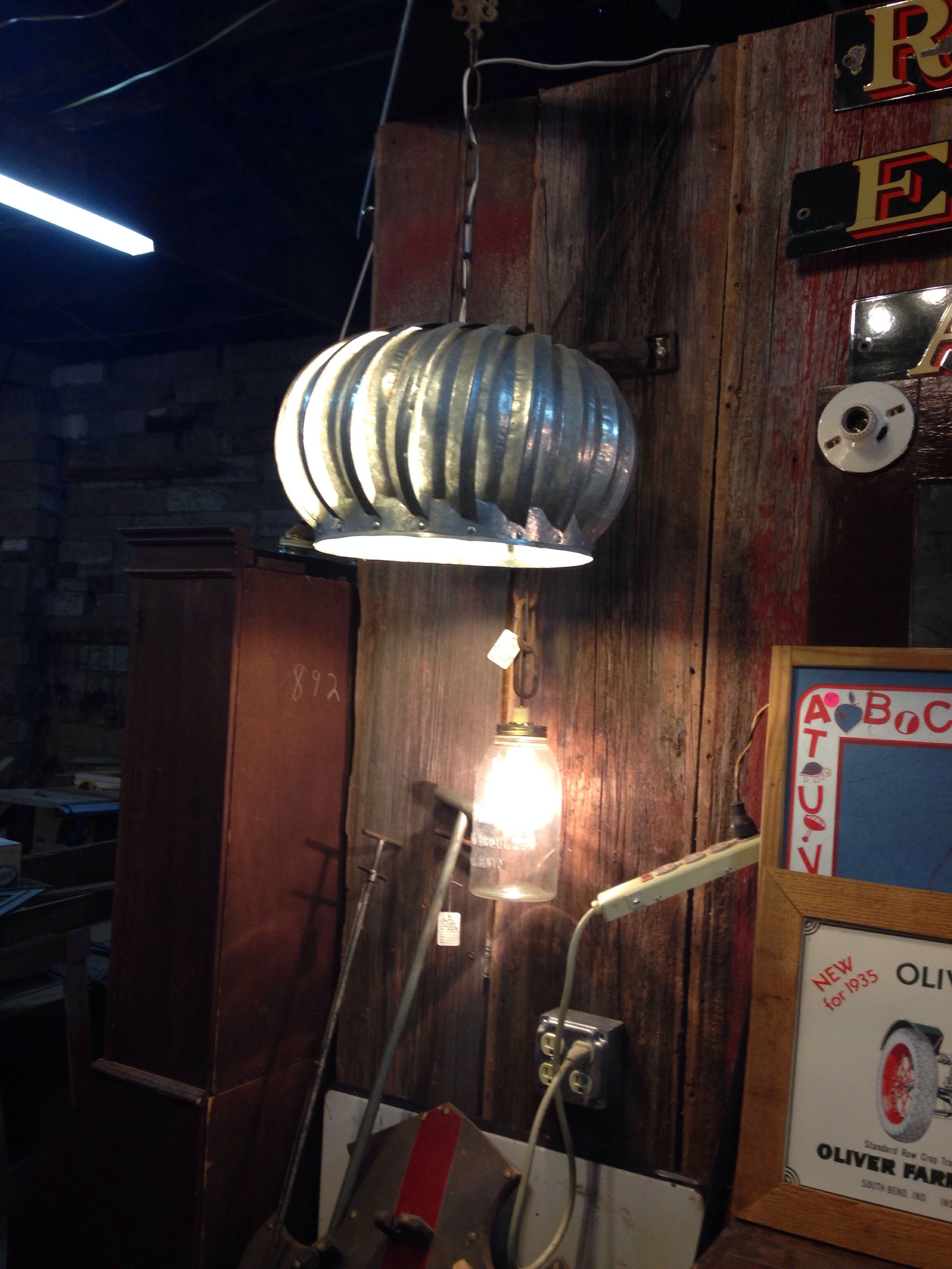 Repurpose An Old Roof Turbine Vent As A Light Fixture Glass Light Fixture Light Fixtures Vintage Light Fixtures