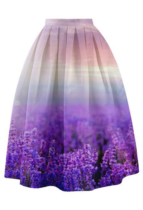 Lavender Mist Pleated Midi Skirt - Retro, Indie and Unique Fashion