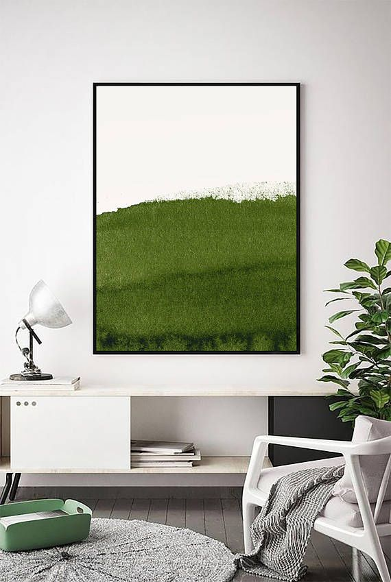 Abstract Green Print Sage Art Olive Forest Wall