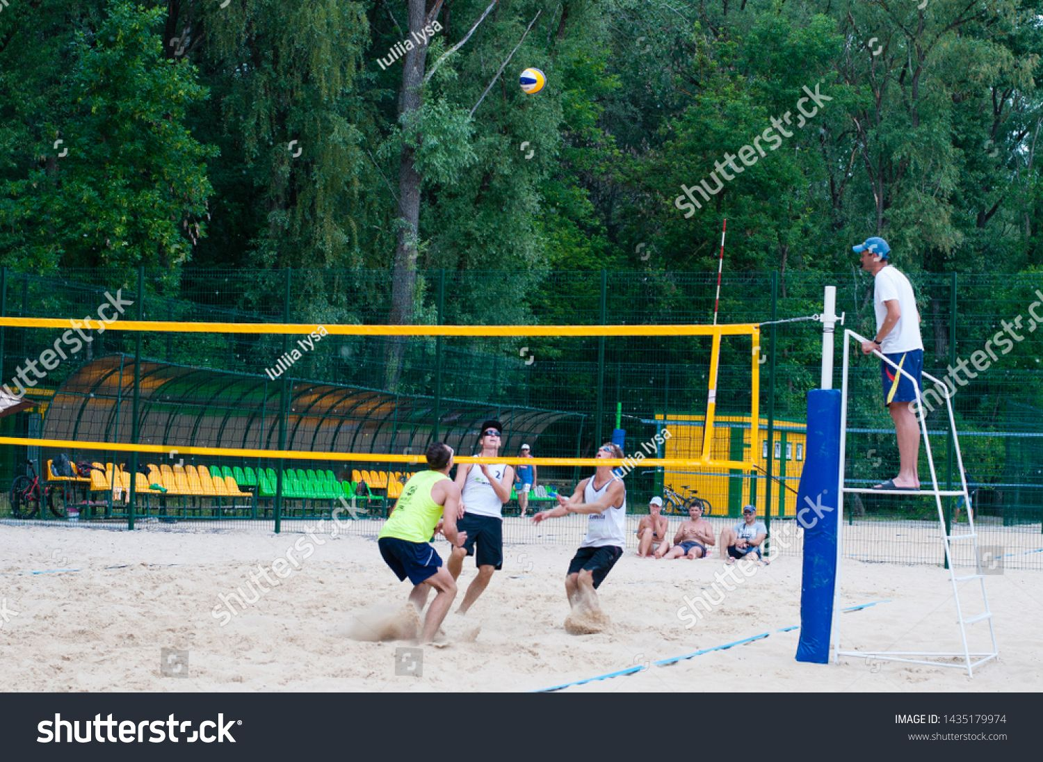 Ukraine Chernigov June 9 2019 Beach Volleyball Championship Of The City Beautiful Young Sports Strong Men Play Volleyball On City Beach Play Volleyball Beach Volleyball
