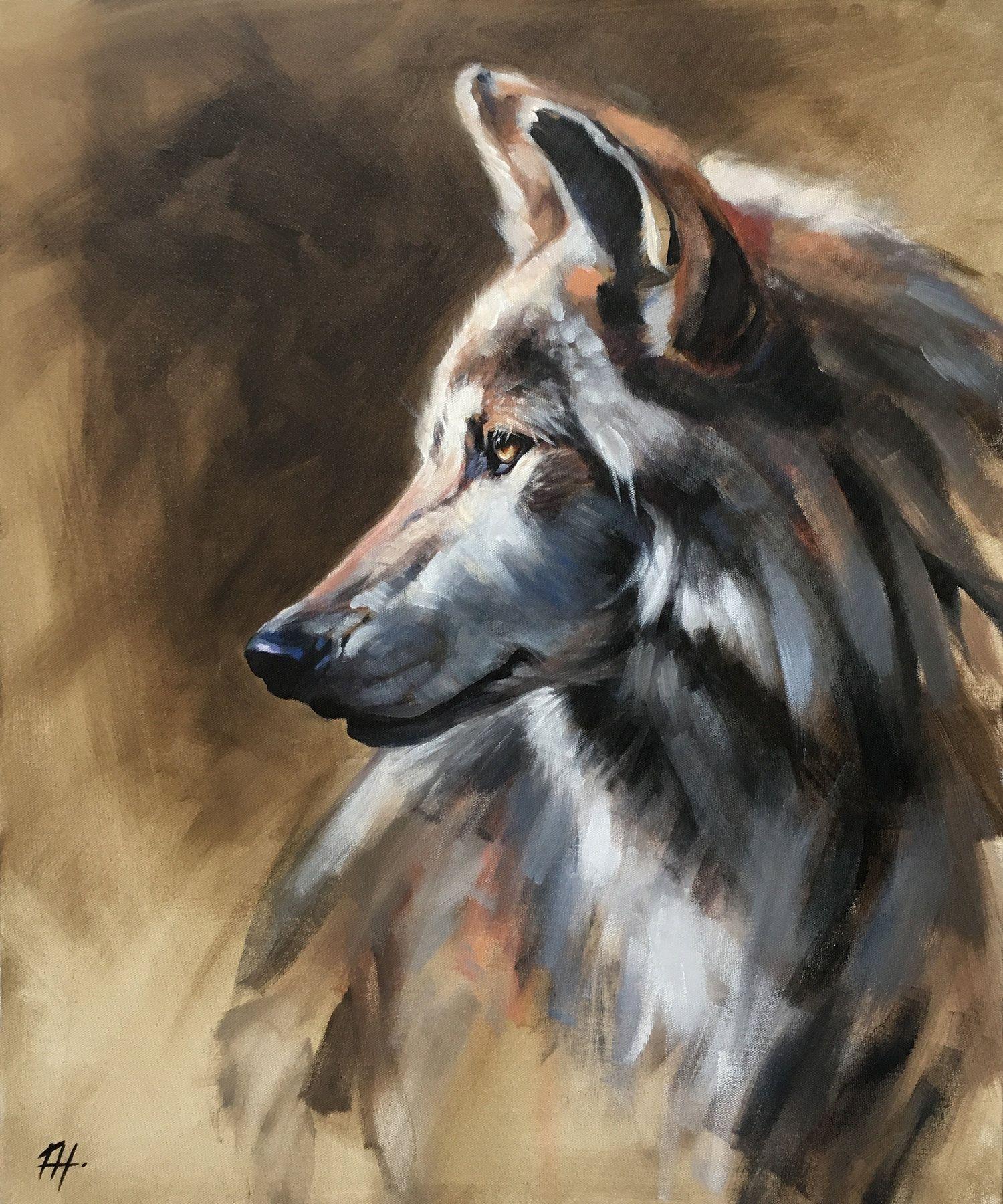 Day 27 - Grey Wolf Lobo Favorite Artwork Gray Wildlife