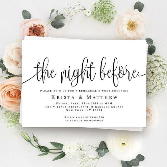 Dinner Invitation Template Glamorous The Night Before Invitation Rehearsal Dinner Invitation Template Pre .
