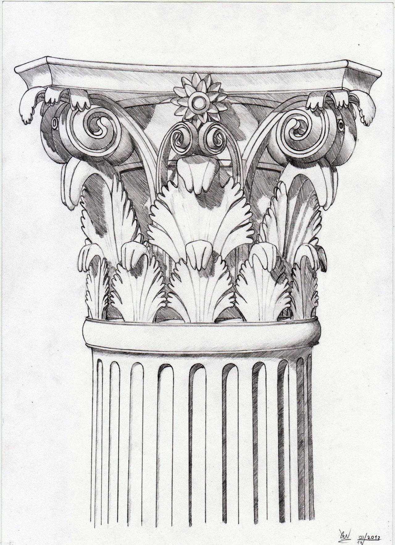 Corinthian Capital Sketch By Xenonnati