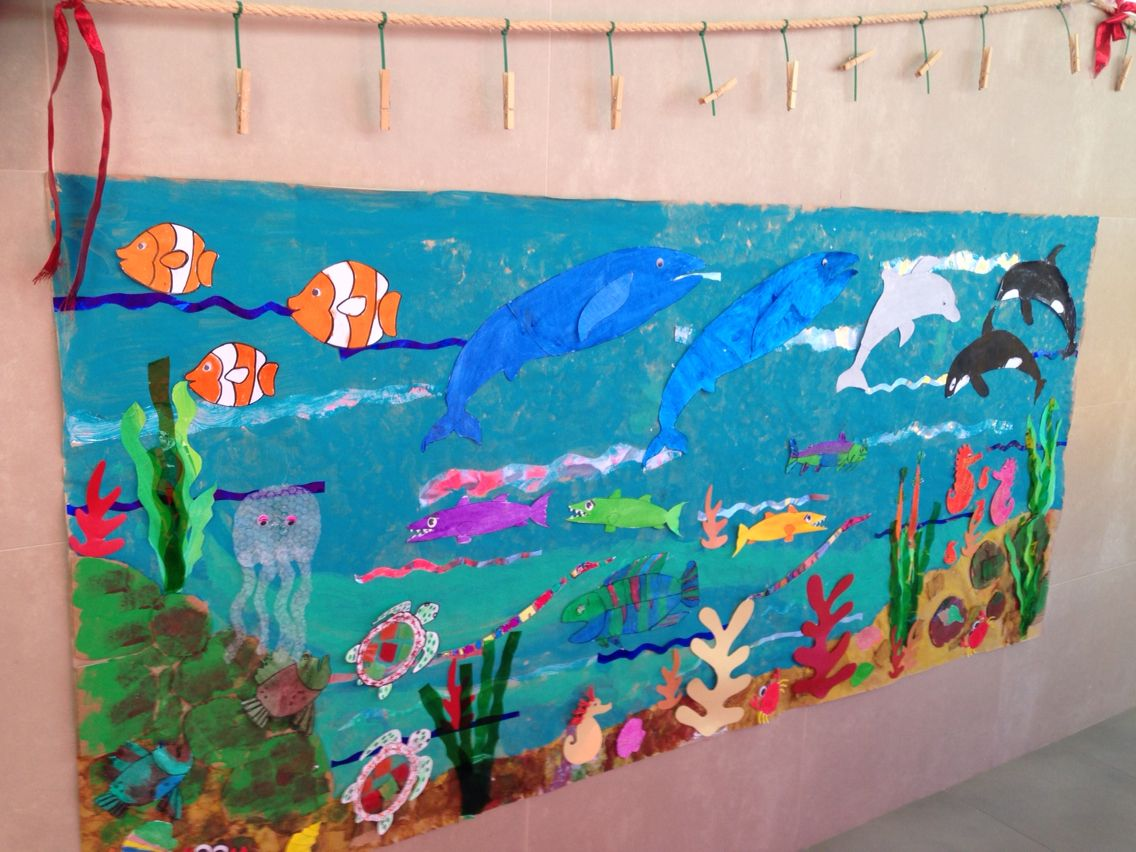 Mural animales marinos animales marinos pinterest for Mural de fotos en cartulina