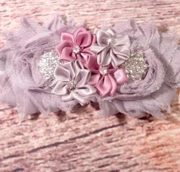 Gray and Mauve Rhinestone Flower Headband - Baby Girl Headband - Baby Girl Headbands - Baby Girl - Headbands for Babies - Infant - Girls Bow