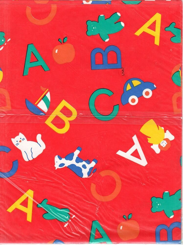 Vintage Baby Shower ABC Gift Wrap Boy Birthday Wrapping Paper