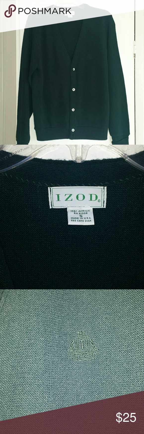 Izod Vintage Men's Cardigan Great forest green Izod sweater.  Nice condition with a little piling on the one side as shown.  V-neck button up with no stains. Izod Sweaters Cardigan