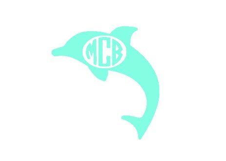 Custom dolphin oval monogram vinyl car decal