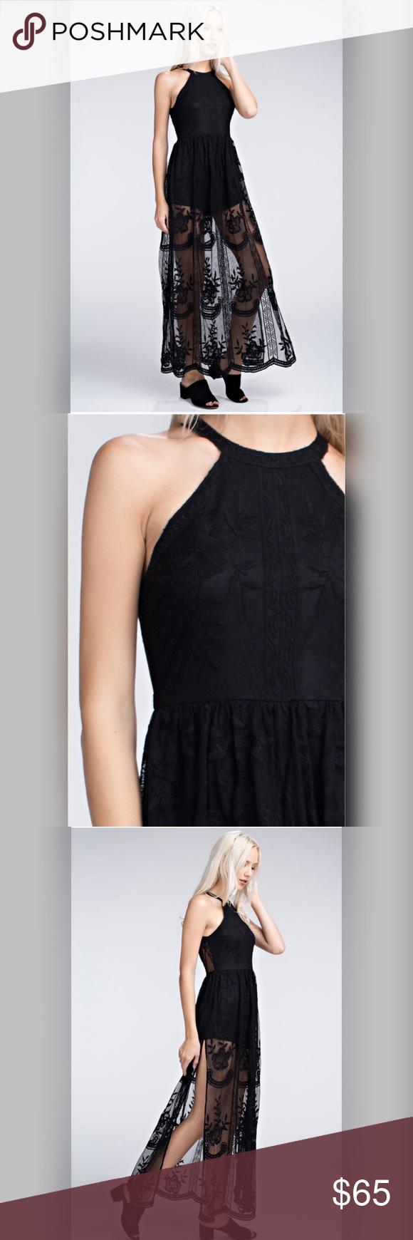 Nasha halter lace maxi dress boutique long sides lace maxi and