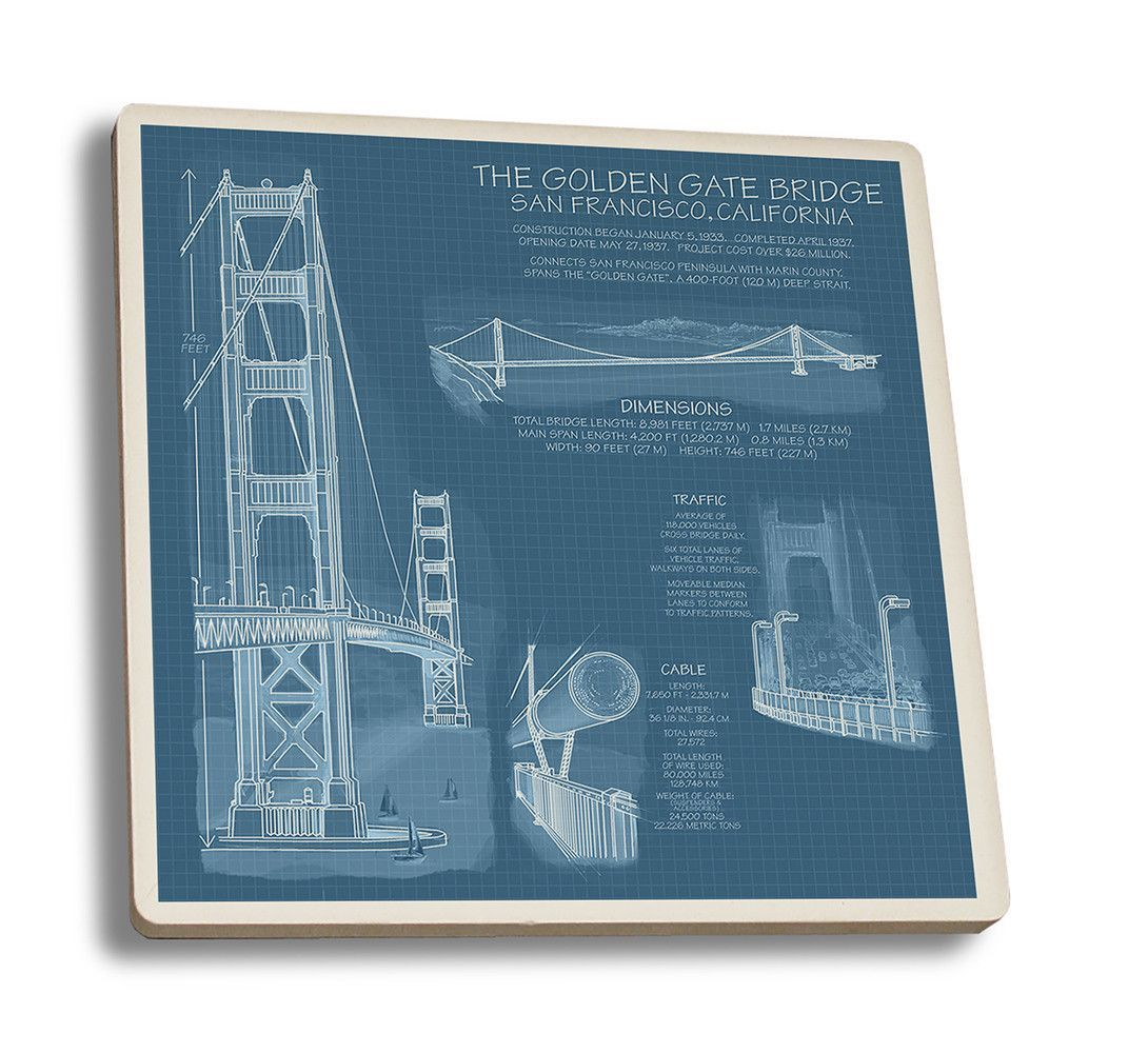 Coaster golden gate bridge technical blueprint lantern press golden gate bridge technical blueprint lantern press artworkcoaster set highly absorbent ceramic coaster soaks up condensation malvernweather Image collections