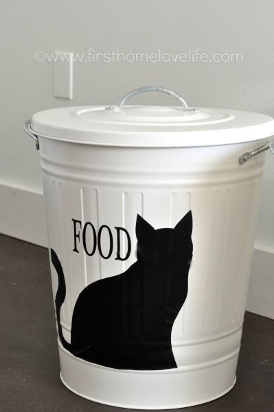 Create your own pet food storage containers with an #IKEA trashcan and #Silhouette machine! Perfect solution for \u0026 accessories Personalized Pet Food Storage | Pets Pets, storage, Cats