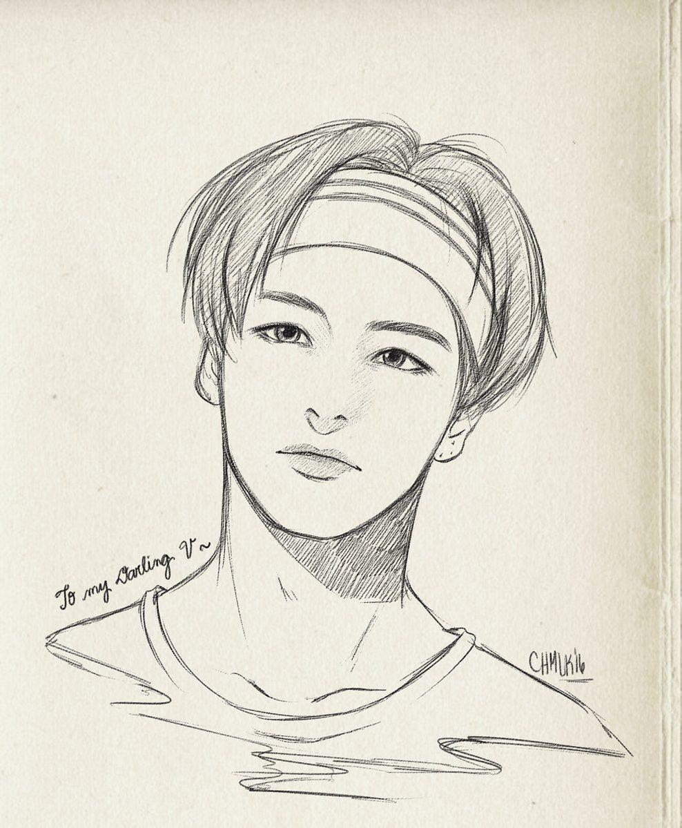 Twitter Bts Drawings Kpop Drawings Taehyung Fanart