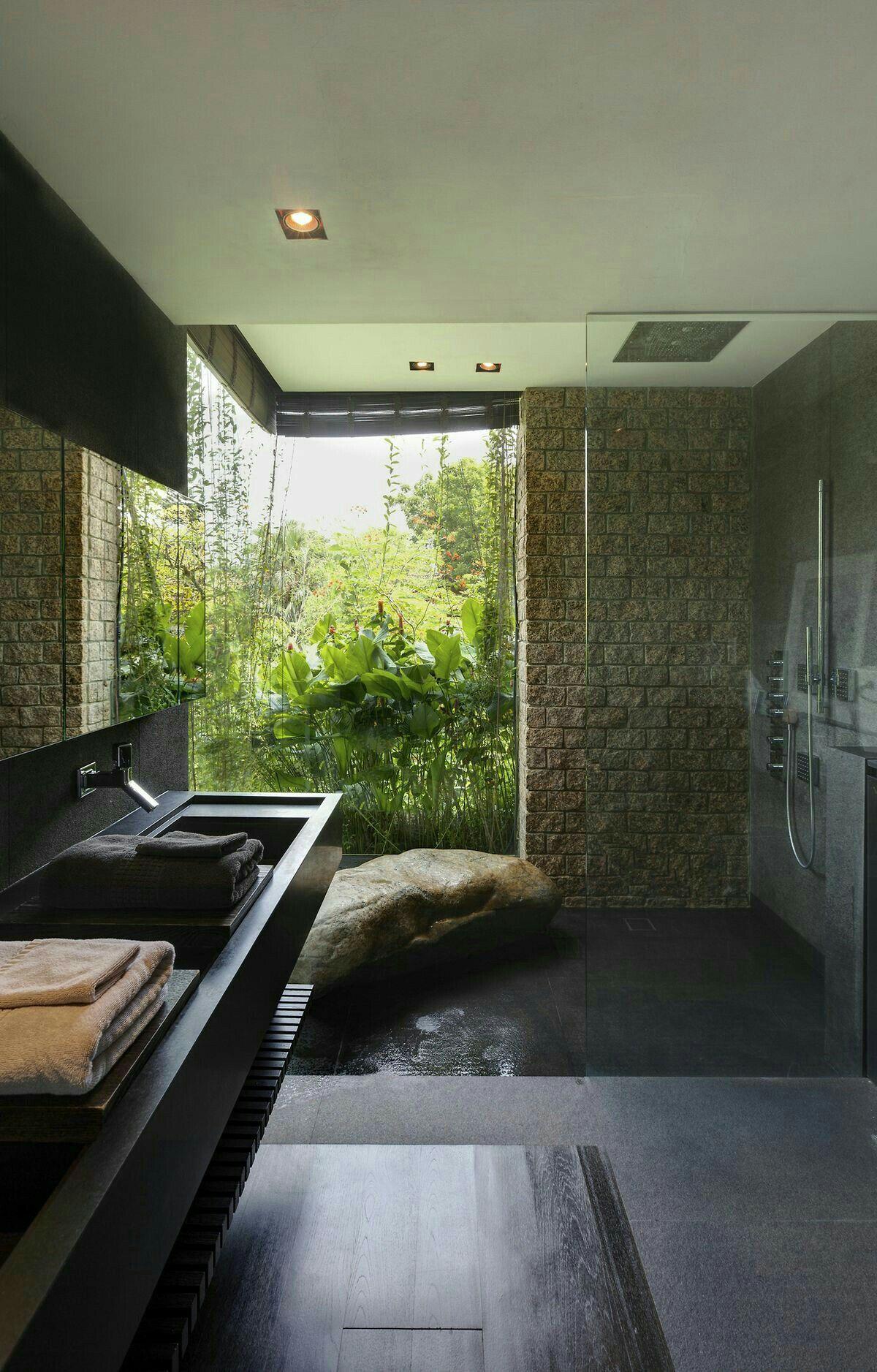 modern grotto sunken shower boulder bench floor to