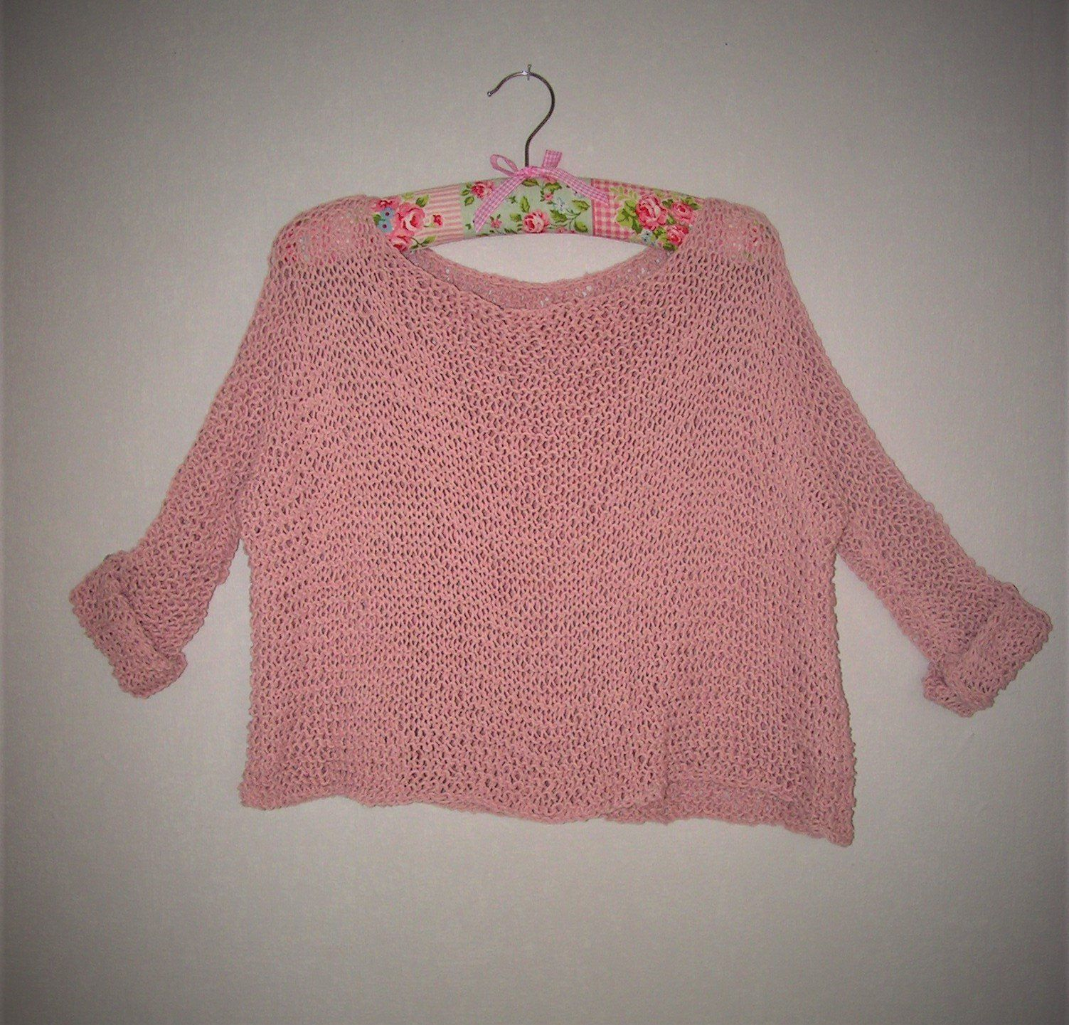 Coarse Knit Sweater Light Summer Sweater Old Pink Boho Hippie To Order Pullover Stricken Hippie Boho Pullover