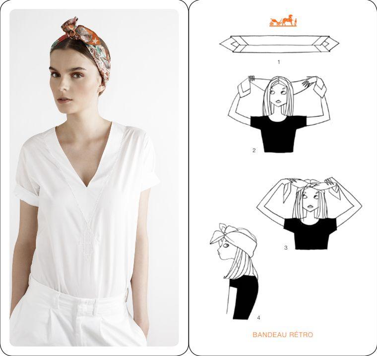hermes v tements et accessoires comment nouer un foulard nouer foulard et nouer foulard t te. Black Bedroom Furniture Sets. Home Design Ideas