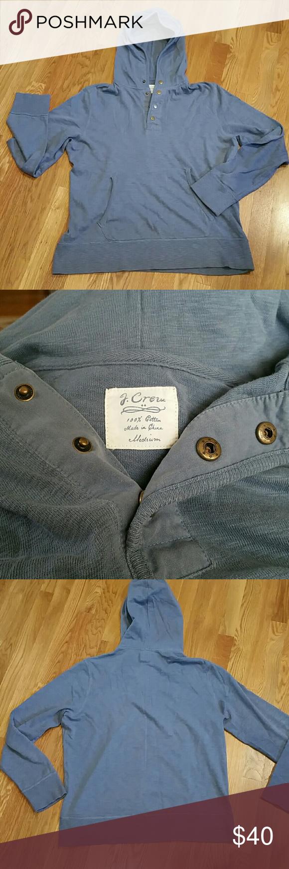 J Crew Hoodie (Mens) J. Crew Hoodie.   Size Medium.   100% cotton.  1/4 snap hoodie.  Front pocket.   Grry/blue colior. Excellent condition. J. Crew Shirts Sweatshirts & Hoodies