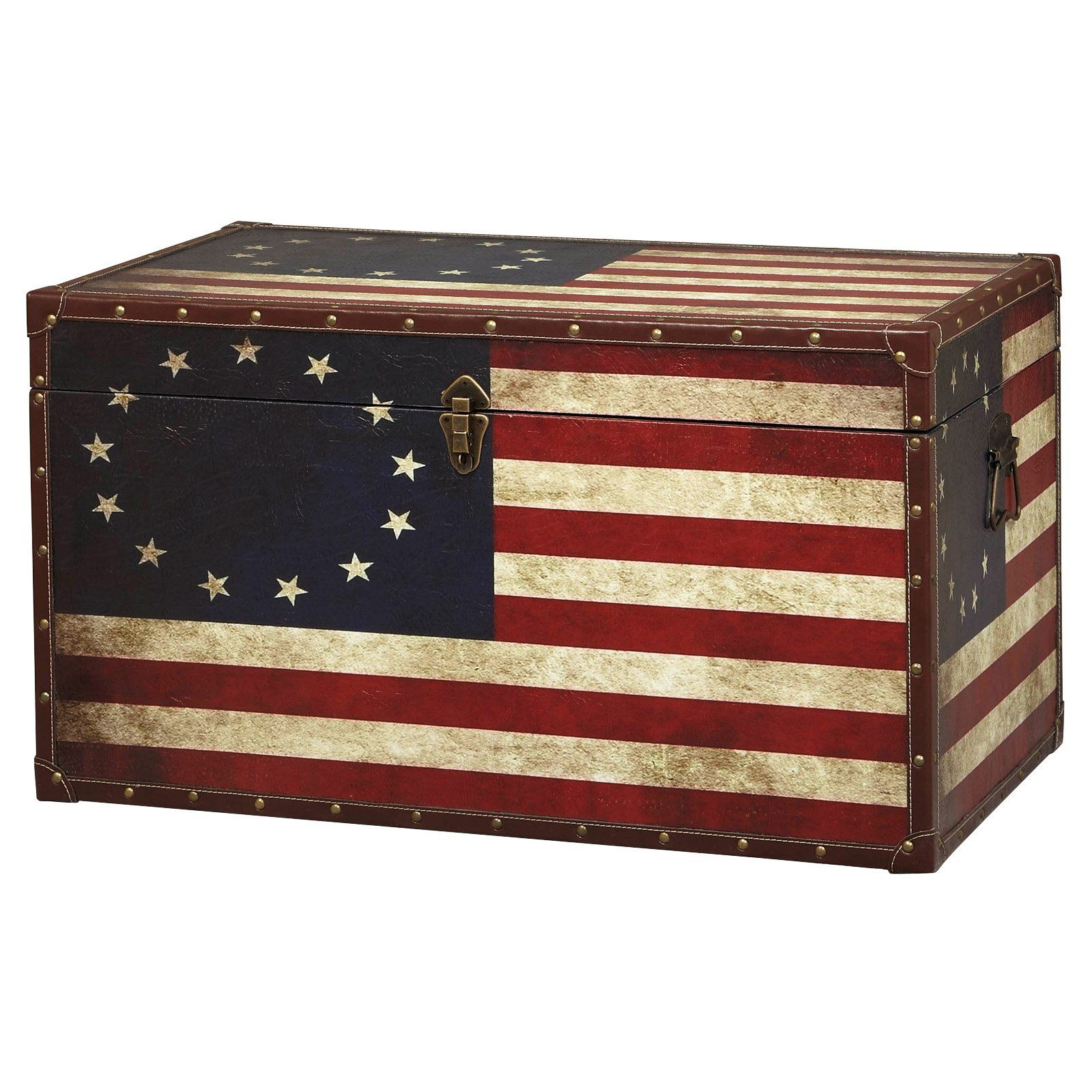 Vintage American Flag Coffee Table Trunk  sc 1 st  Pinterest & Vintage American Flag Coffee Table Trunk | Furniture Refurbs ...