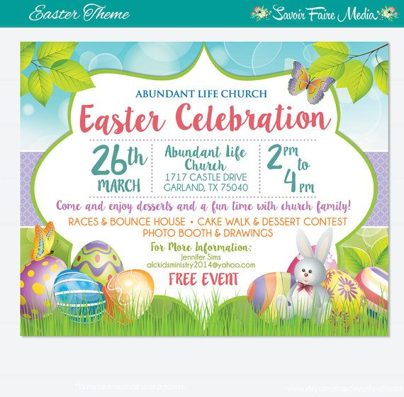 Easter Egg Hunt Flyer Invitation Poster \/ Template Church School - easter flyer template