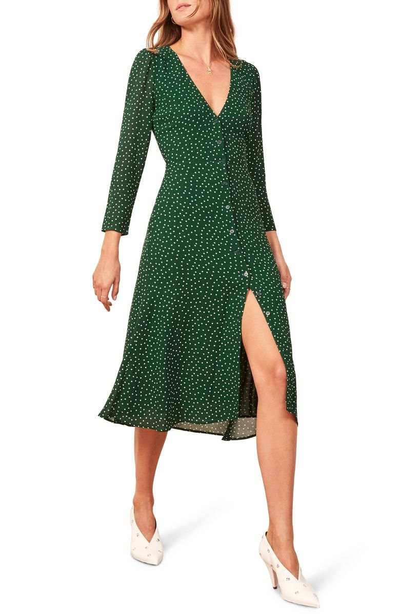 Free shipping and returns on Reformation Alma Midi Dress at Nordstrom.com.  A sweet sprinkling of dots enlivens this front-button midi that takes you  ... 63963d4b88779