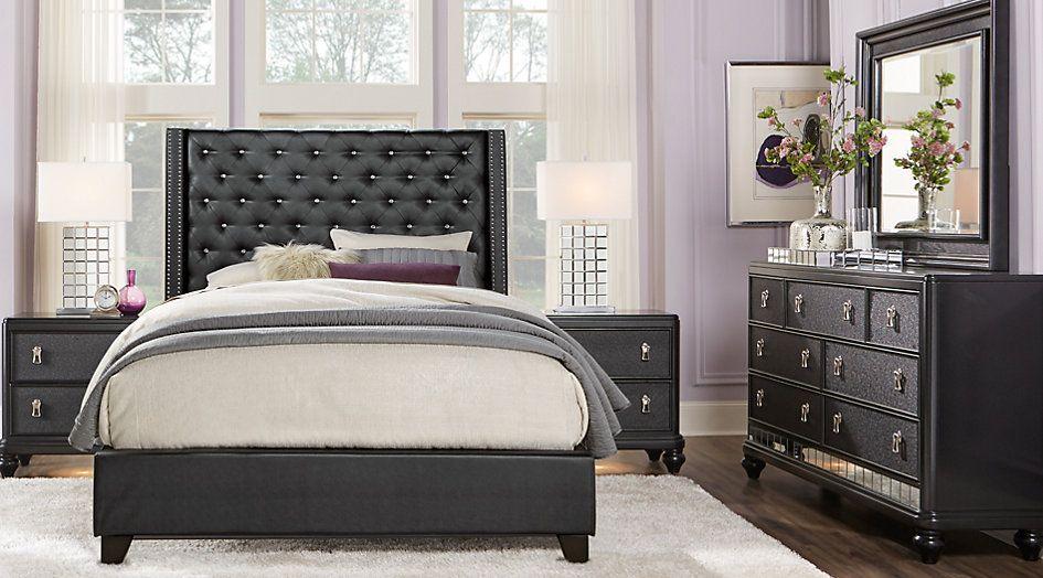 Sofia Vergara Paris Black 5 Pc King Upholstered Bedroom