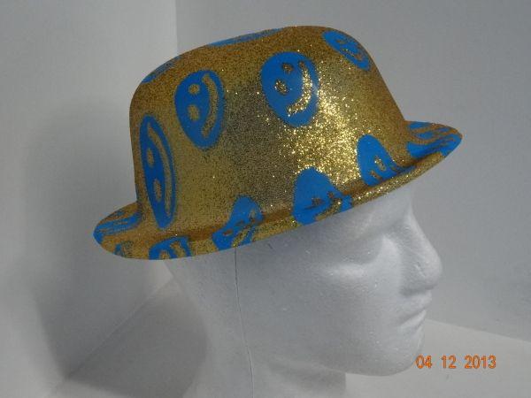 Sombrero Ref. Bombín escarchado caras felices neón.  FiestasTematicasCali   PinateriasCali cb3aa1dfd1b
