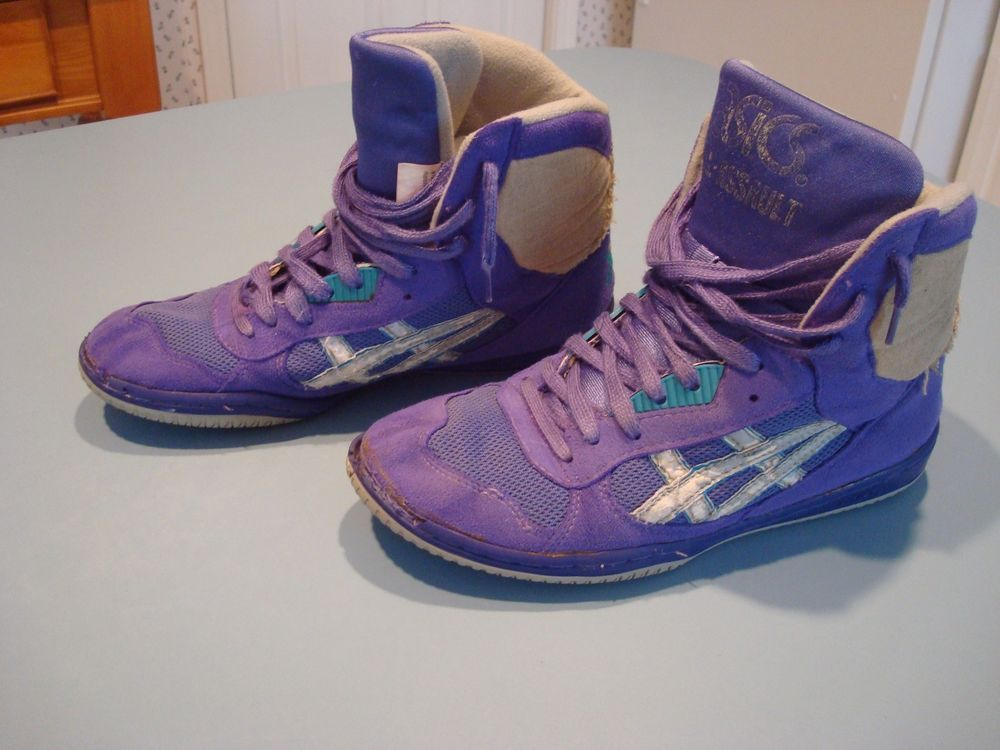 Asics gel assault wrestling shoes size 9.5 purple and white pre ...