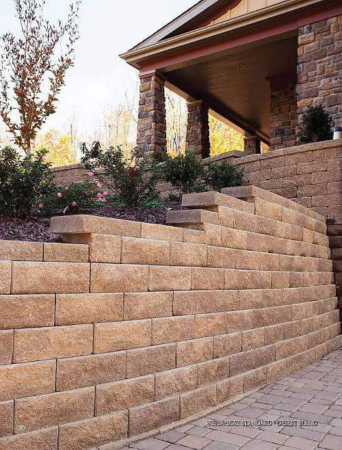 Non Weathered Standard Versa Lok Wallstones Desert Blend Wallstones Fenced In Yard Stone Retaining Wall