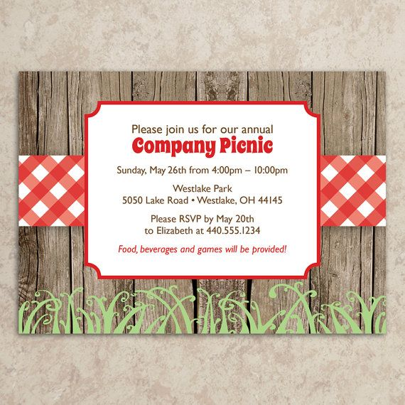 Picnic Invitation - Diy Printable Jpeg - Company Picnic Invitation