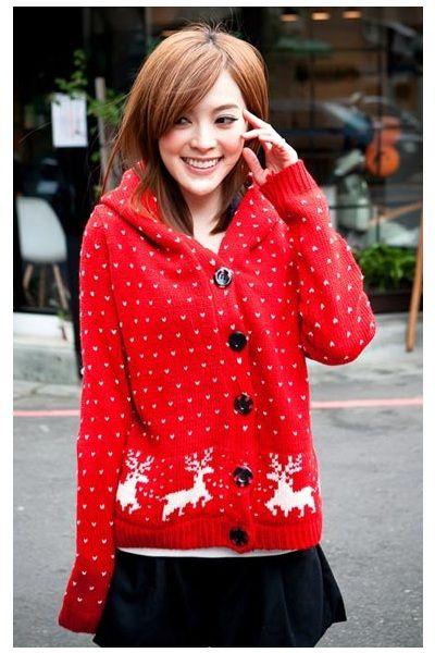 Red Deer Pattern Winter Jacket, iAnyWear