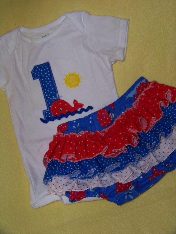 DM custom boutique girls birthday whale ruffle bottom by playpatch,