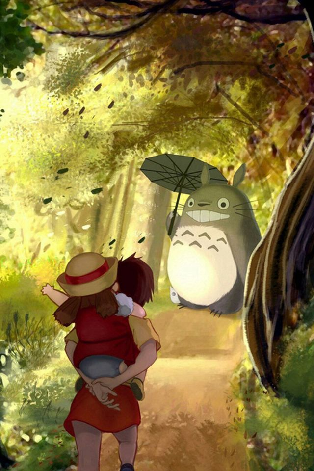Grove Totoro With Umbrella Waiting Kids Road Anime Cartoon Cute