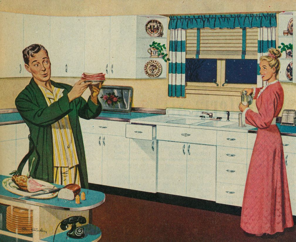 1946 Ad Advert Details Of Youngstown Kitchens By Mullins Husband Wife In Kitchen Before Bedtime Retro Vintage House Vintage Illustration