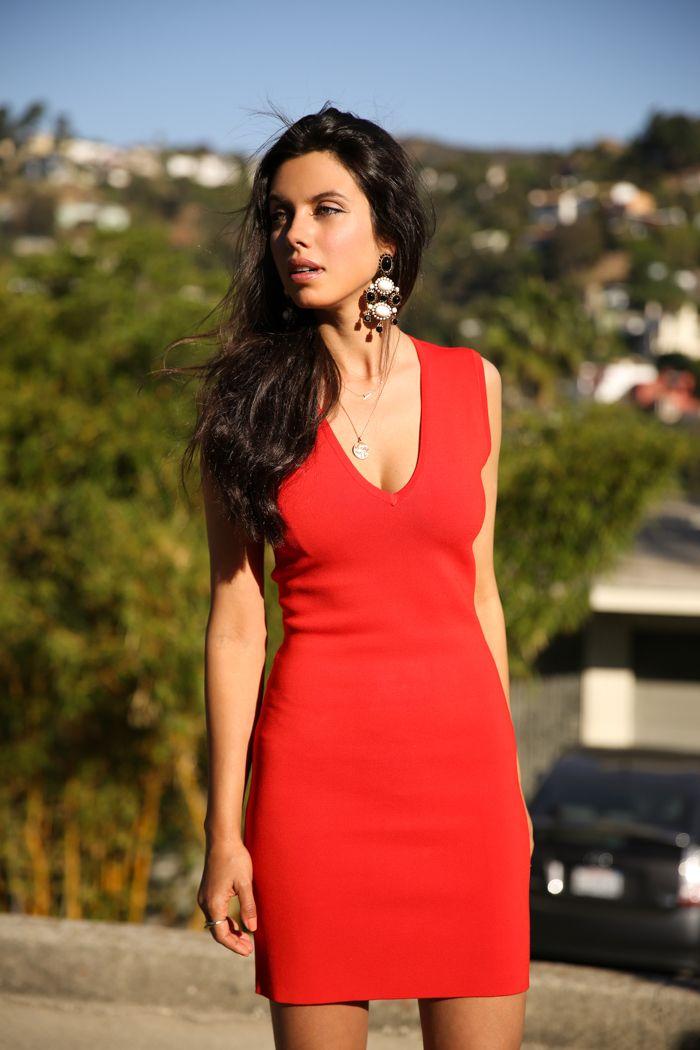 Red Dress Statement Earrings