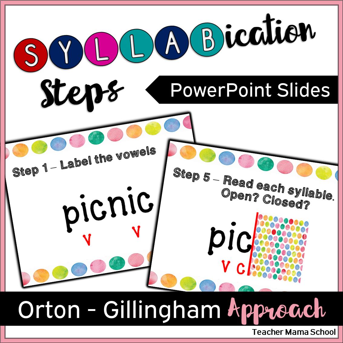 Syllabication Division Orton Gillingham