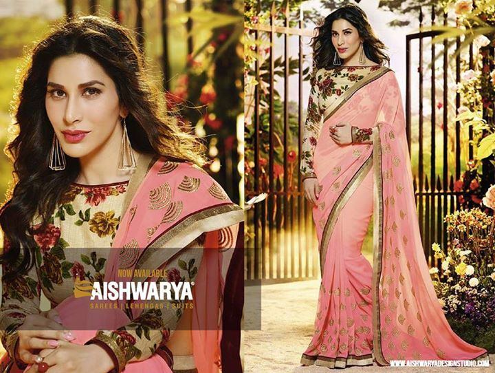 Sway away everyone with your elegance wearing this peach colored saree set out from our latest collections...Find saree online: http://www.aishwaryadesignstudio.com/exclusive-peach-saree-accompanied-with-floral-printed-blouse