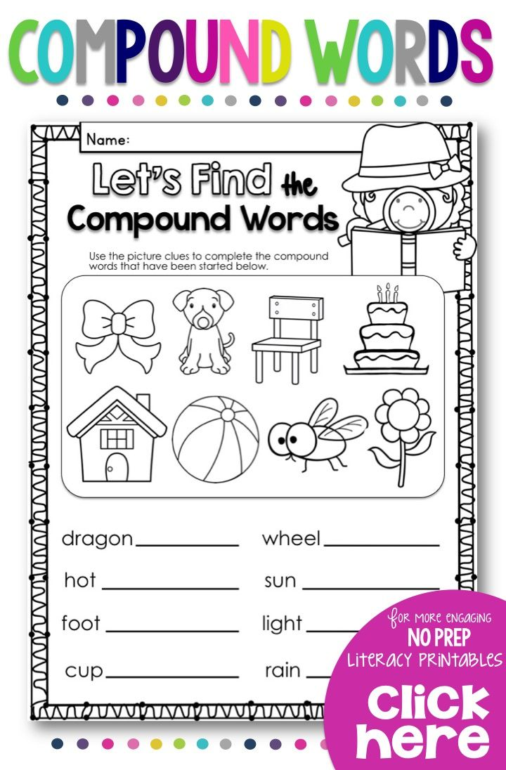 Teach your students all about compound words with this no prep printables  pack for your Grade …   Compound words [ 1096 x 720 Pixel ]