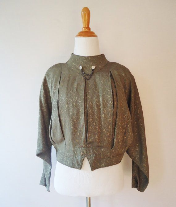 S A L E Olive Green Military Style Cropped by NorthStarrVintage, $10.00