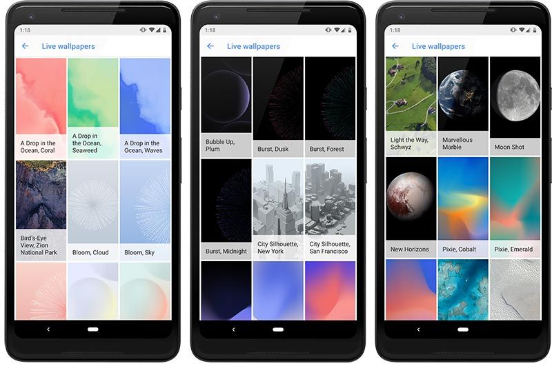 Download Google Pixel 3 Live Wallpapers port on your smartphone Wallpaper App, Live Wallpapers,