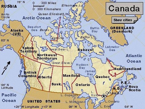 Map Of Canada Us Border Ontario