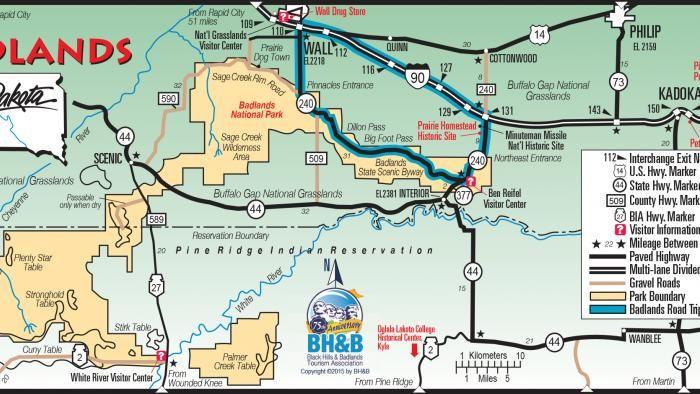 Badlands Wyoming Map.Badlands Map Road Trip South Dakota South Dakota South Dakota