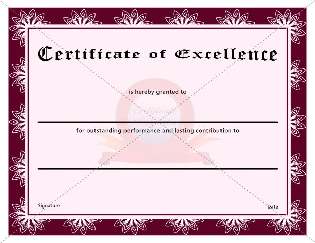 Doc550425 Certificate of Excellence Template Free Certificate – Sample Certificate of Excellence