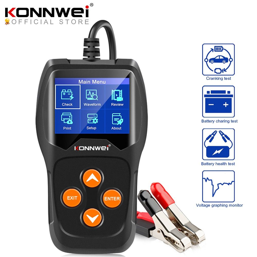 Konnwei Kw600 Car Battery Tester 12v 100 To 2000cca 12 Volts Battery Tools For The Car Quick Cranking Charging Diag In 2020 Battery Tools Car Battery Batteries Testers