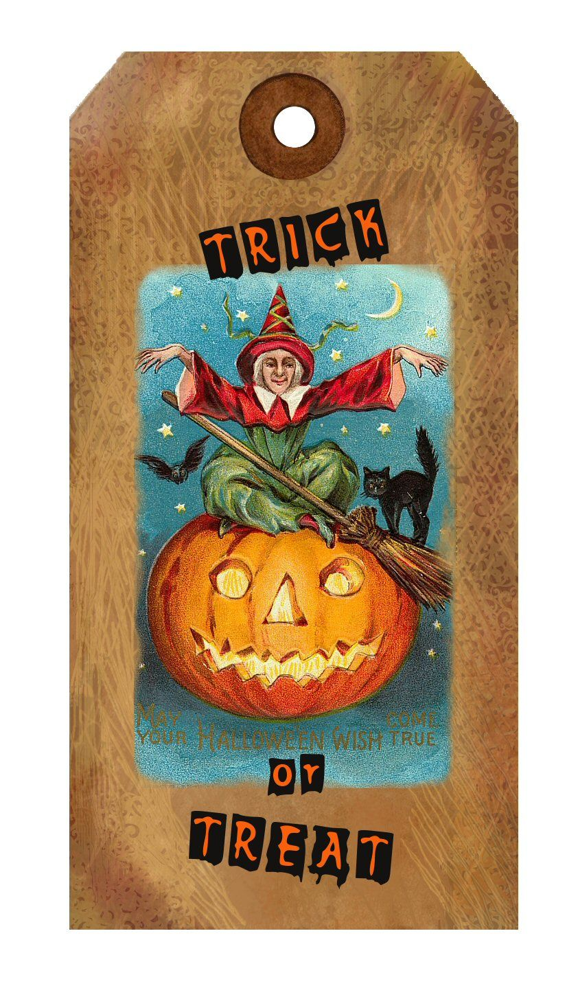A vintage trick or treat. tag