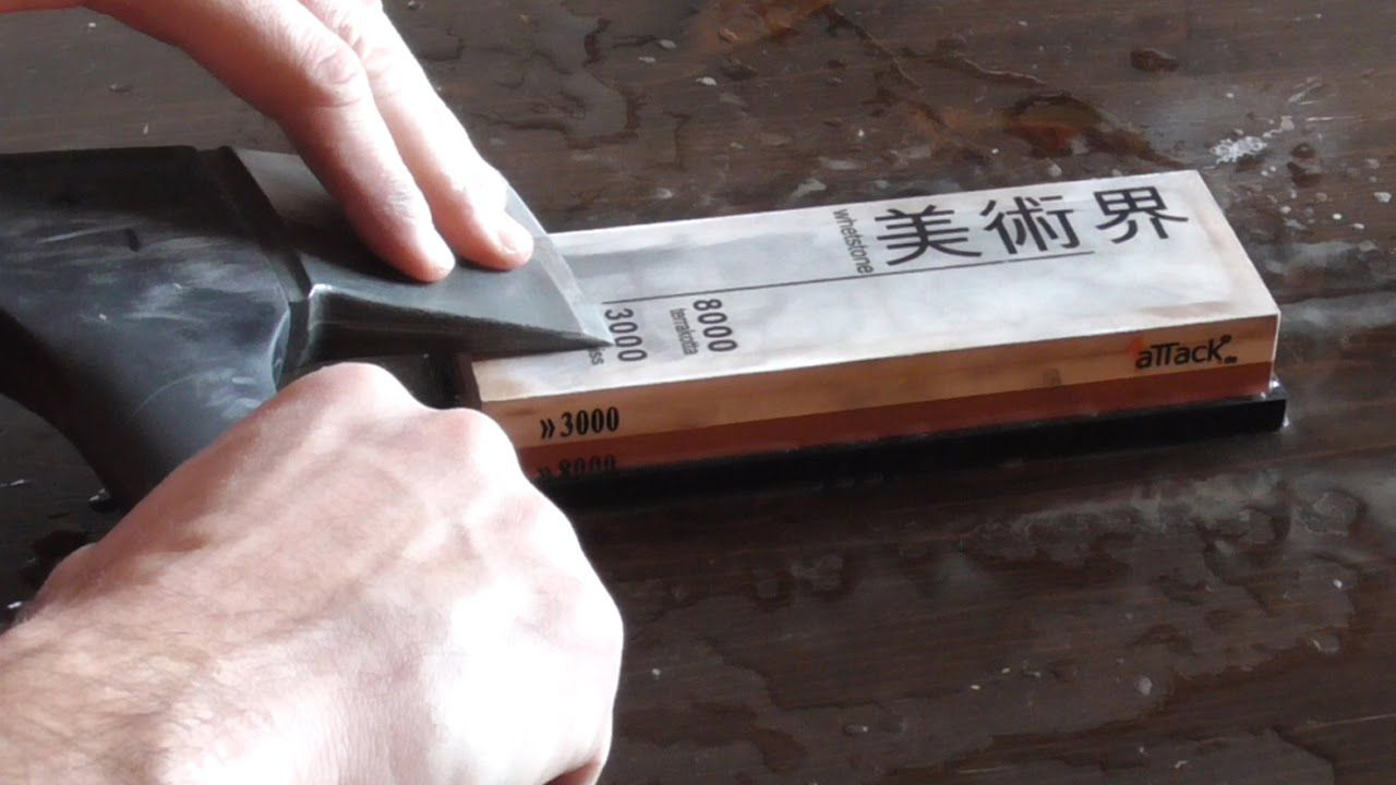 How to sharpen an axe or hatchet or cleaver on a