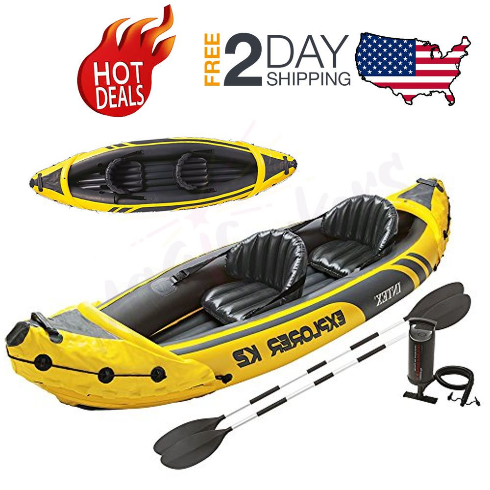 2 Person Fishing Kayak Double Inflatable Seats Set Accessories