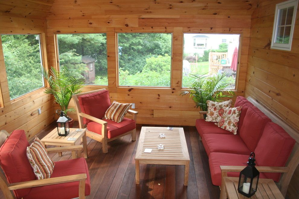 Knotty Pine Walls Sunroom Rustic With Container Plants